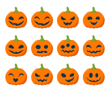 spooky eyes: Funny Halloween pumpkins set vector illustration. Simple flat style.