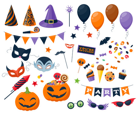 masks: Halloween party colorful icons set vector illustration. Magic hat sweets masks balloon pumpkin rocket flag glasses, good for holiday design. Illustration