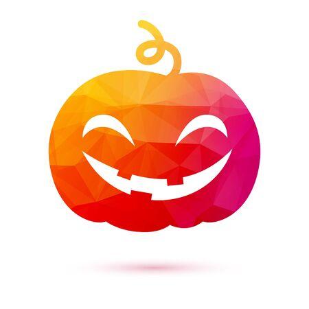 holiday symbol: Funny mosaic faceted halloween pumpkin holiday symbol. Vector illustration.