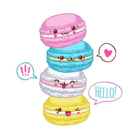Group of four cute kawaii macarons. Sweet funny macaroons characters for your design.