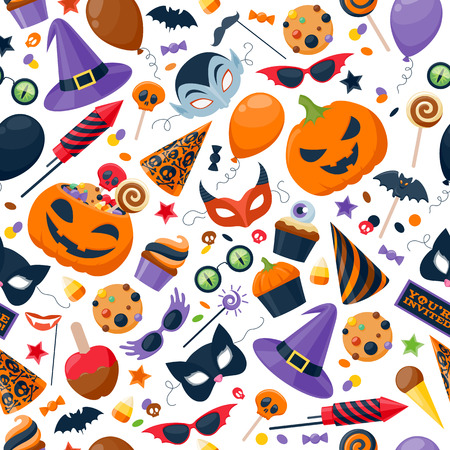 treat: Halloween party colorful seamless pattern vector illustration. Magic hat sweets masks balloon pumpkin rocket flag glasses, background for holiday design. Illustration