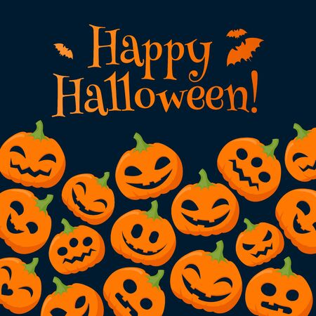Funny pumpkins halloween background with greetings vector illustration.