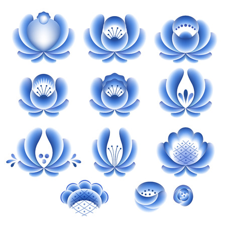 porcelain: Blue flowers floral russian porcelain beautiful folk ornament parts for your design. Vector illustration. Decorative composition. Illustration