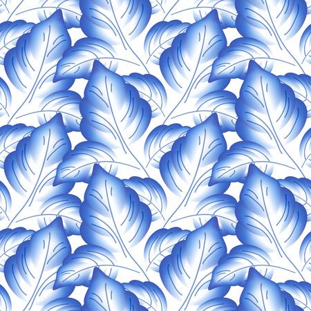 Blue leaves floral russian porcelain beautiful folk ornament. Vector illustration. Seamless pattern background.