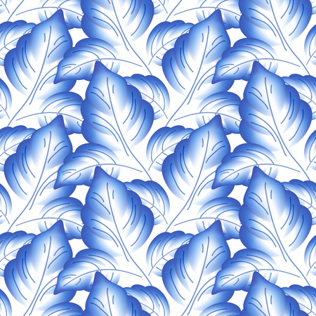 Blue leaves floral russian porcelain beautiful folk ornament. Vector illustration. Seamless pattern background.