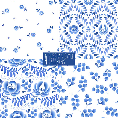 russian: Blue flowers and leaves floral russian porcelain beautiful folk ornament. Vector illustration. Seamless pattern background. Illustration