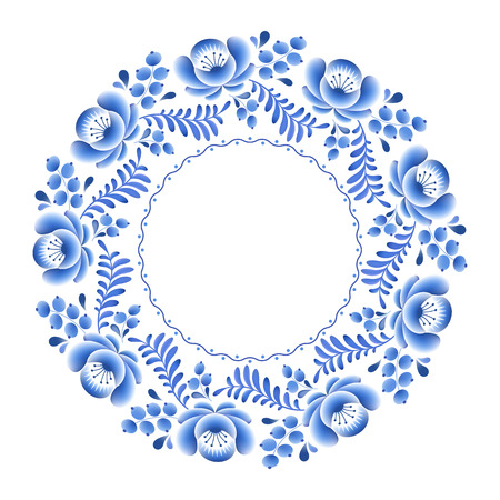 porcelain: Blue flowers floral russian porcelain round frame with beautiful folk ornament. Vector illustration. Decorative composition.