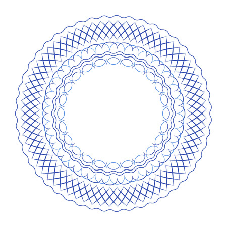 traditional pattern: Blue geometric abstract russian porcelain round frame with beautiful folk ornament. Vector illustration. Decorative composition.