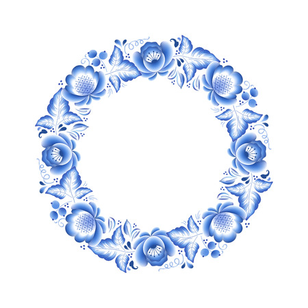chinese frame: Blue flowers floral russian porcelain round frame with beautiful folk ornament. Vector illustration. Decorative composition.