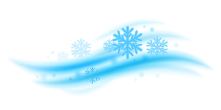 wind: Cool fresh mint wave with snowflakes vector illustration. Good for menthol products packaging design.