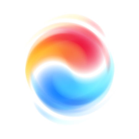 Red and blue opposites cooperation abstract symbol. Spinning blur motion. Yin Yang shaped sign logo design vector illustration.  イラスト・ベクター素材