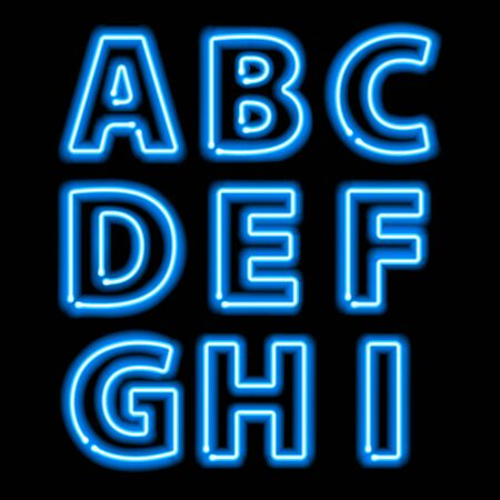 Blue neon light glowing letters set. Abc alphabet text symbols vector illustration. Çizim