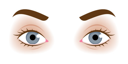 Realistic woman's eyes vector illustration. Make up design.