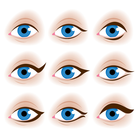 look up: Realistic womans eyes vector illustration. Make up tutorial design - eyeliner schemes.