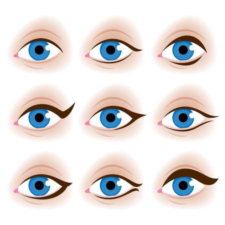 make up: Realistic womans eyes vector illustration. Make up tutorial design - eyeliner schemes.