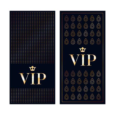 VIP zone members premium invitation cards. Black and golden design template set. Dots and gemstones decorative patterns. Stock Illustratie