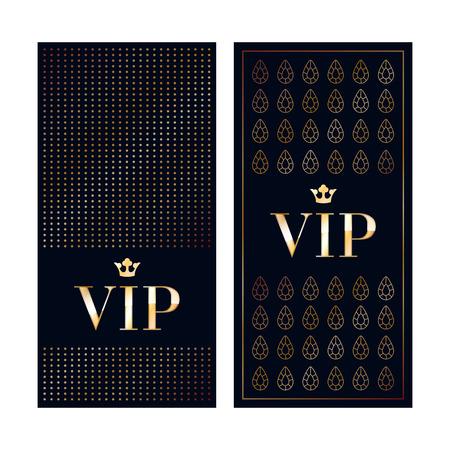 members: VIP zone members premium invitation cards. Black and golden design template set. Dots and gemstones decorative patterns. Illustration