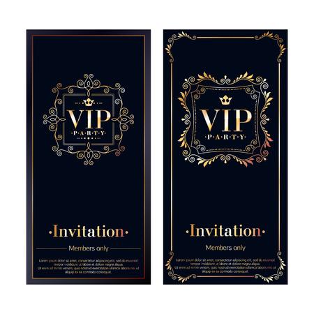 VIP zone members premium invitation cards. Black and golden design template set. Classic floral retro decorative vignettes design.