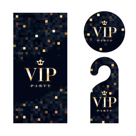 VIP zone members premium invitation card, warning hanger and round label badge. Black and golden design template set. Pixel mosaic texture. Stock Illustratie