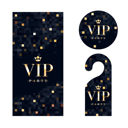 a glamour: VIP zone members premium invitation card, warning hanger and round label badge. Black and golden design template set. Pixel mosaic texture. Illustration