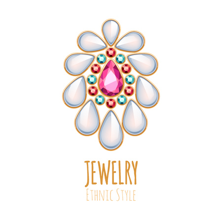 jewels: Elegant gemstones vector jewelry decoration. Ethnic vignette. Good for fashion jewelry store design logo.
