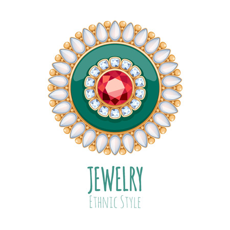 jewelry store: Elegant gemstones vector jewelry decoration. Ethnic floral vignette. Good for fashion jewelry store design. Illustration