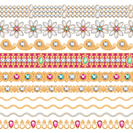 gems: Colorful gemstones seamless horizontal borders set. Ethnic indian style design. Chain bracelet necklace jewelry. Illustration