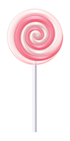 Pink and white spiral candy. Strawberry and cream lollipop vector illustration. Illustration