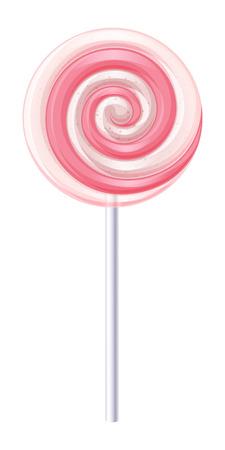 Rosa e bianco caramelle a spirale. Fragola e panna illustrazione vettoriale lecca-lecca. Archivio Fotografico - 44330655