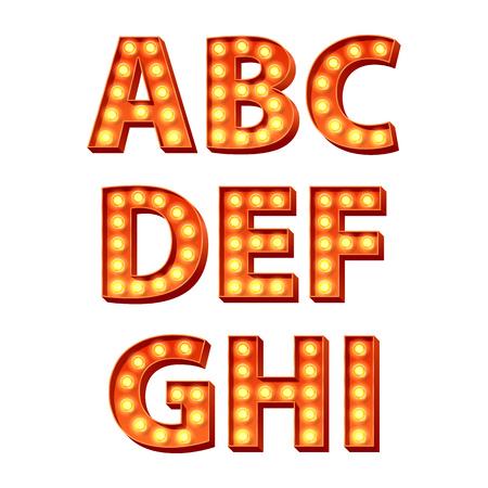 jaune rouge: Ampoules jaunes rouges orange lampes incandescentes r�tro lettres lumineuses fix�es. Abc texte de l'alphabet des symboles illustration vectorielle.