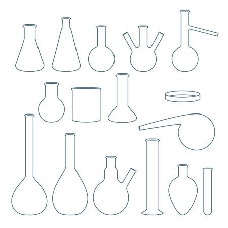 retort: Chemical flasks set vector illustration outline style.