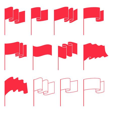 vector set: Small waving flags templates set vector illustration. Illustration