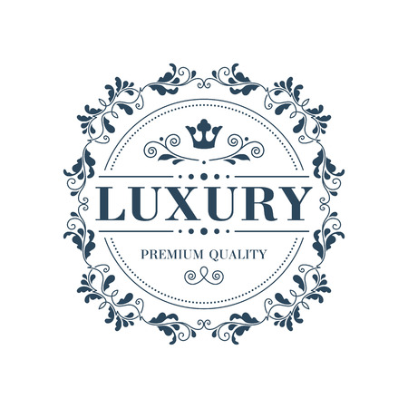 Flourish logo template glamour calligraphic monogram ornament label. Good for restaurant boutique hotel heraldic jewelry fashion emblem. Vector illustration. Stock Illustratie