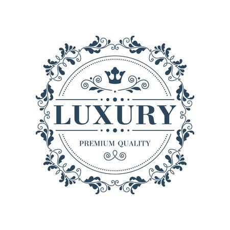 Flourish logo glamour plantilla monograma caligráfico del ornamento etiqueta. Bueno para un hotel restaurante boutique de joyería emblema heráldico de la moda. Ilustración del vector. Logos