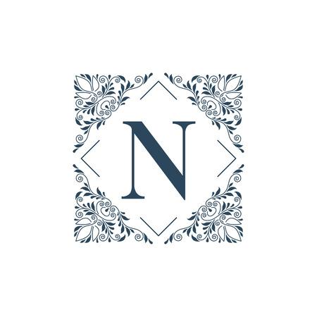 boutique hotel: Flourish logo glamour plantilla monograma caligráfico del ornamento etiqueta. Bueno para un hotel restaurante boutique de joyería emblema heráldico de la moda. Ilustración del vector.