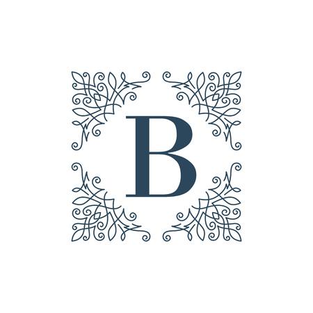 boutique hotel: Flourish logo glamour plantilla monograma caligr�fico del ornamento etiqueta. Bueno para un hotel restaurante boutique de joyer�a emblema her�ldico de la moda. Ilustraci�n del vector.