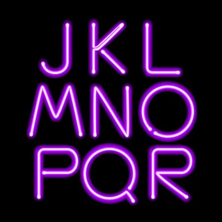 light abc: Purple neon light glowing letters set. Abc alphabet text symbols vector illustration. Illustration