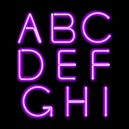 morado: Letras brillantes de luz púrpura de neón fijaron. Abc texto alfabeto ilustración vectorial símbolos.