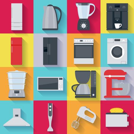 キッチン家電のアイコンを設定します。冷蔵庫洗濯機ケトル ミキサー コーヒー メーカー オーブン レンジのストーブ。  イラスト・ベクター素材