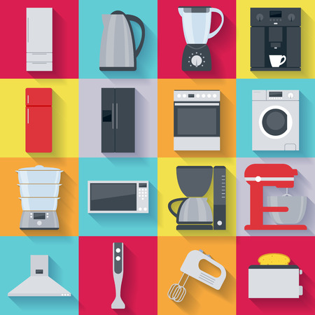 household appliances: Kitchen home appliances icons set. Fridge stove washing machine kettle mixer coffee maker microwave oven.