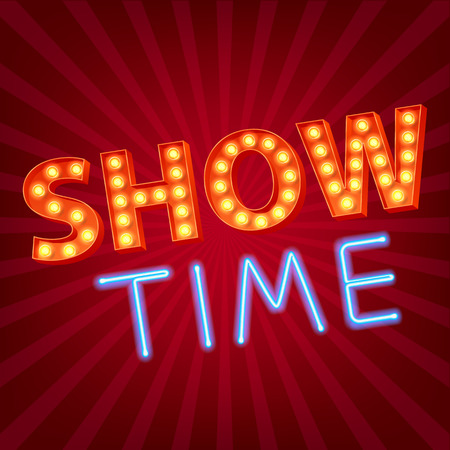 Show time neon and bulb letters advertisment vector illustration. Colorful background.  イラスト・ベクター素材