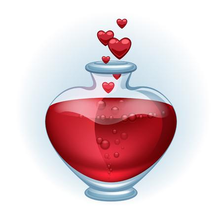 물약 아이콘 아름 다운 벡터 일러스트 레이 션을 사랑 해요. 발렌타인 개념, 열정의 상징.