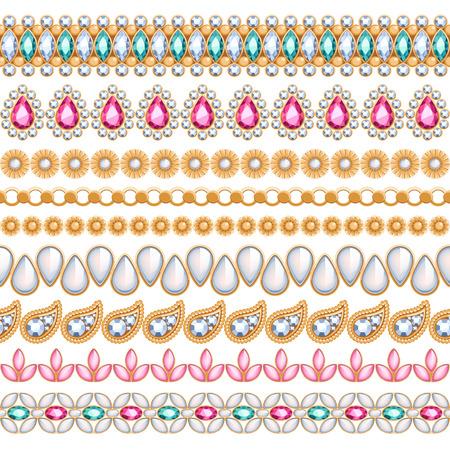 カラフルな宝石シームレスな水平方向の罫線を設定します。エスニックなインド スタイルのデザイン。チェーン ブレスレット ネックレスの宝石類
