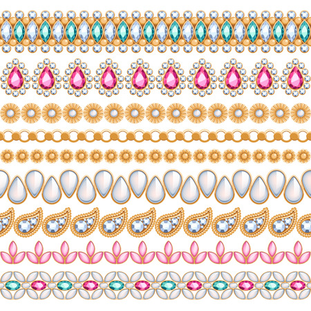 Colorful gemstones seamless horizontal borders set. Ethnic indian style design. Chain bracelet necklace jewelry. Illustration