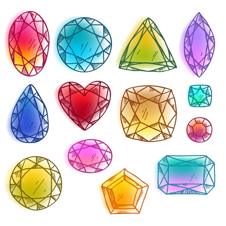 set: Colorful hand drawn sketch gemstones with watercolor effect vector illustration. Illustration