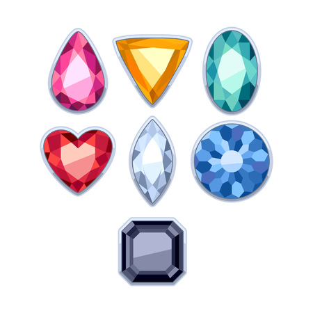rim: Colorful gemstones jewels in silver rim vector illustration.