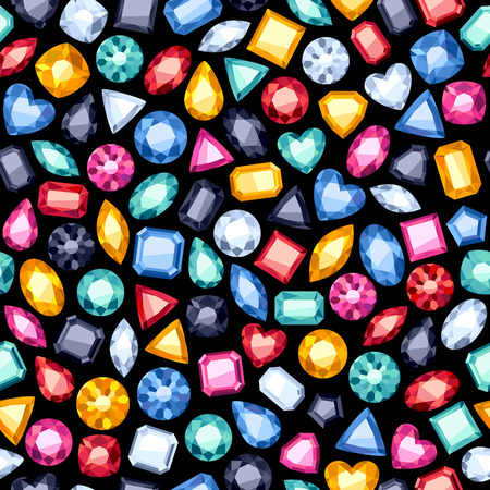 Seamless colorful diamond gemstones background on black. Jewels pattern.