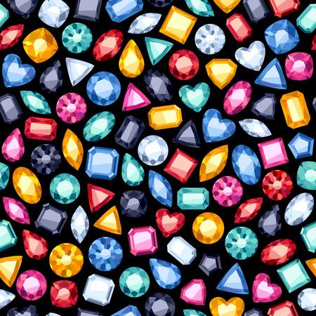 diamante: Seamless colorido piedras preciosas diamantes fondo en negro. Patrón de Joyas.