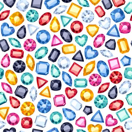 gemstones: Seamless colorful diamond gemstones background on white. Jewels pattern. Illustration