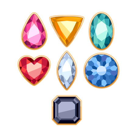 rim: Colorful gemstones jewels in golden rim vector illustration.